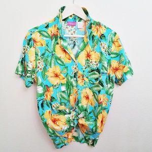 80s vintage Pappagallo Hawaiian print top
